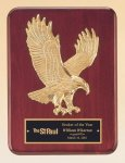 Rosewood Piano Finish Plaque with Gold Eagle Casting Eagle Plaques and Awards